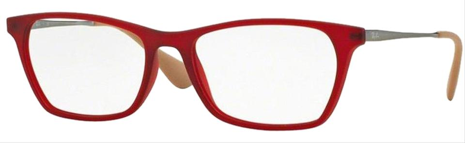 d296963a89 Ray-Ban Rubber Red Frame Square Style Unisex Rx7053f 5525 Demo Customisable  Lens Eyeglasses