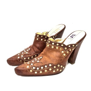 Cole Haan Leather Studded Gold Hardware Cowboy Brown Mules