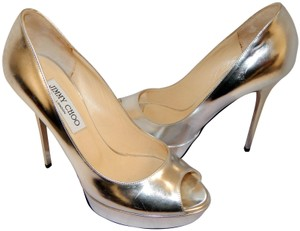 Jimmy Choo Stiletto Platform Open Toe Silver Pumps