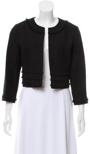 Karl Lagerfeld Fringe Cropped Tweed 3/4 Sleeve Black Blazer