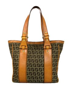 Fendi Trim Leather Logo Monogram Canvas Tote in Brown/Orange
