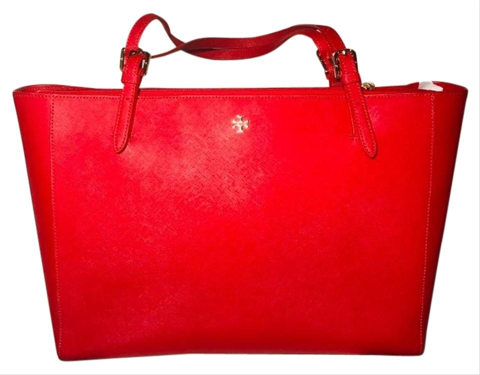 0b46b7dc5d6 Tory Burch Large York Buckle Red Saffiano Leather Tote - Tradesy