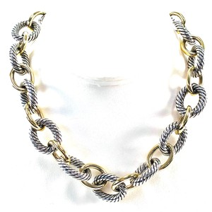 "David Yurman David Yurman 18K Sterling Silver 16"" Large Oval Link Necklace"
