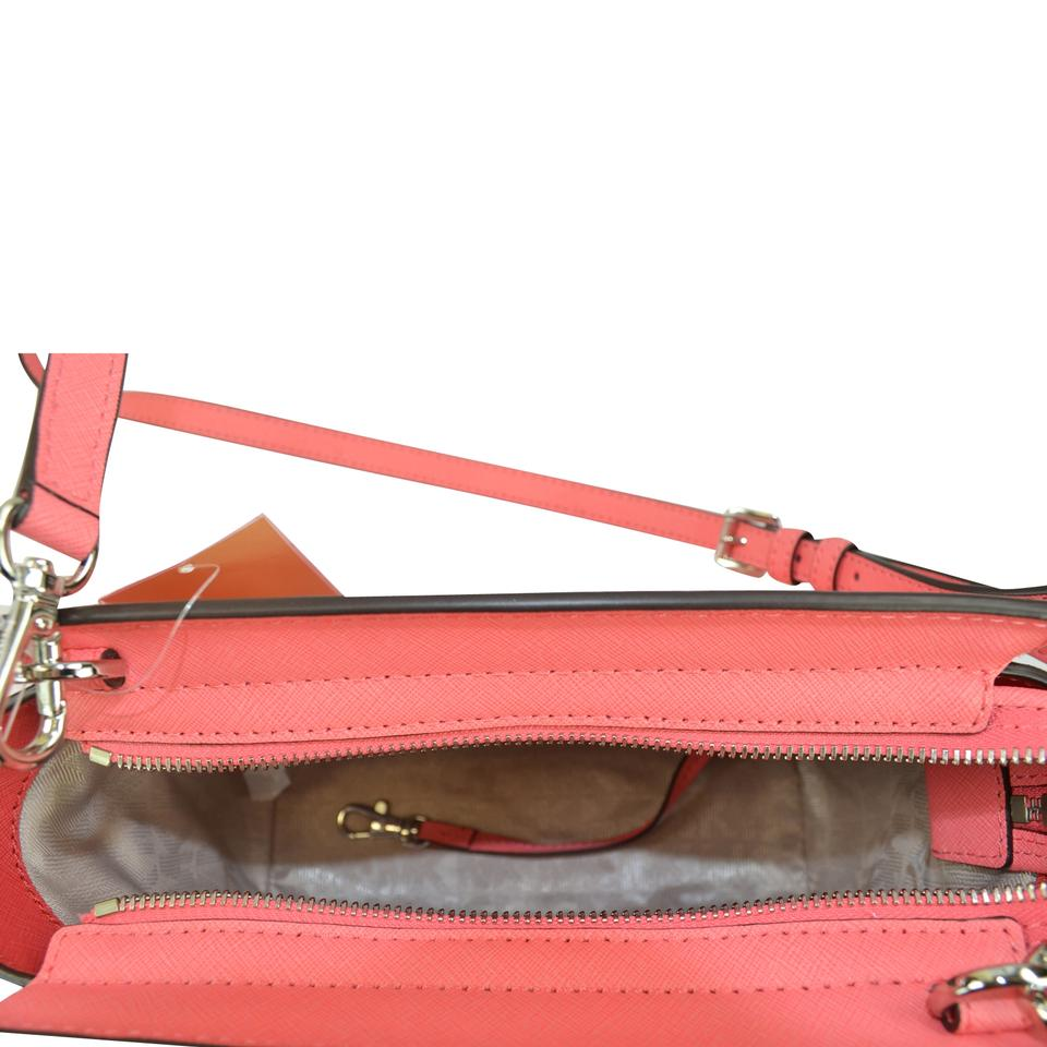 98795ef0a8a8 Michael Kors Selma Selma Medium Satchel Leather Satchel Coral/ Watermelon/ White  Messenger Bag Image. 12345678