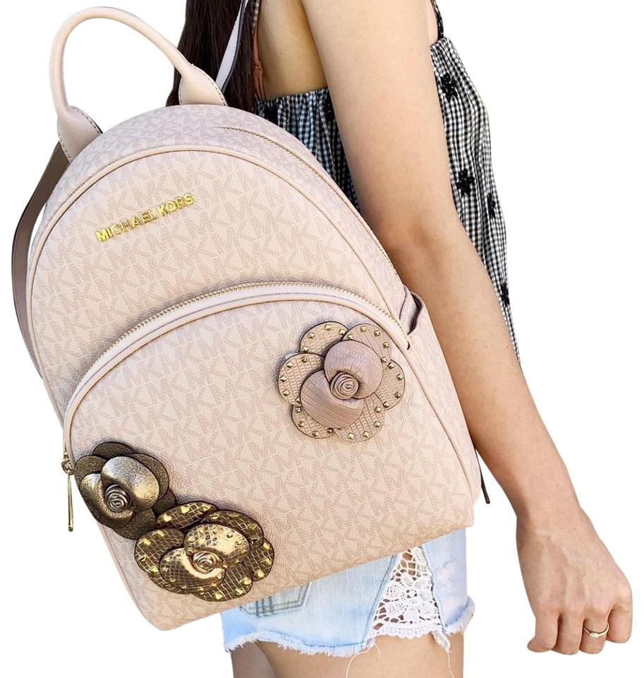 0c2f4f9718ade Michael Kors Abbey Medium Mk Signature Flower School Ballet Pink Leather  Backpack