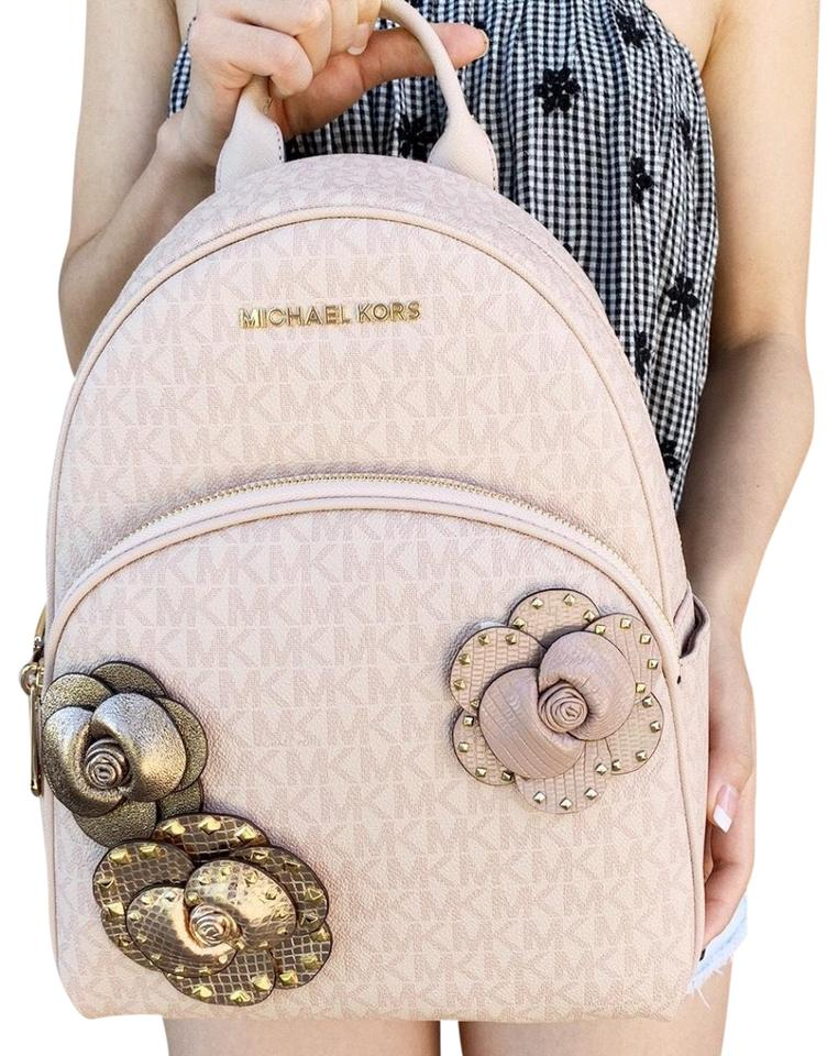 28fbe2fa1af9a Michael Kors Abbey Medium Mk Signature Flower School Ballet Pink ...