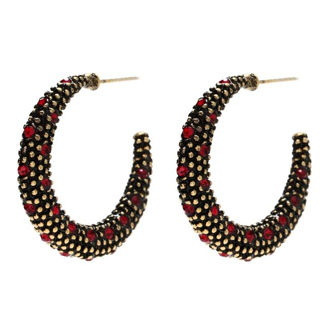 Item - Ruby Antique Gold Austrian Crystals Sm Hoops Earrings