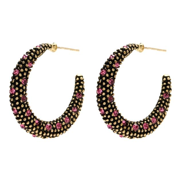 Item - Pink Antique Gold Austrian Crystals Sm Hoops Earrings