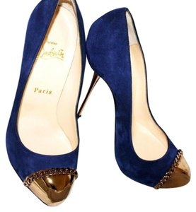 Christian Louboutin Sexy Designer Red Bottoms Edgy Royal Blue Pumps