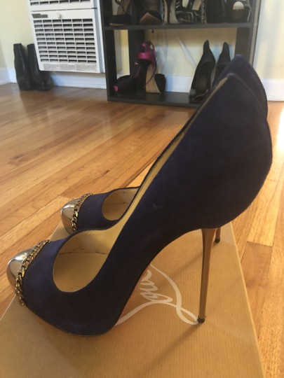 Christian Louboutin Sexy Designer Red Bottoms Edgy Royal Blue Pumps Image 1