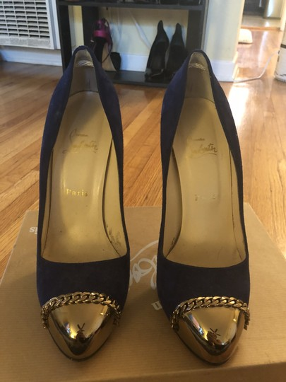 Christian Louboutin Sexy Designer Red Bottoms Edgy Royal Blue Pumps Image 2