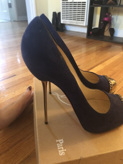 Christian Louboutin Sexy Designer Red Bottoms Edgy Royal Blue Pumps Image 3