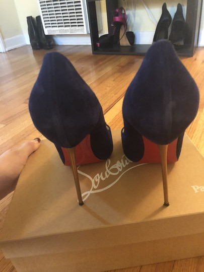 Christian Louboutin Sexy Designer Red Bottoms Edgy Royal Blue Pumps Image 4