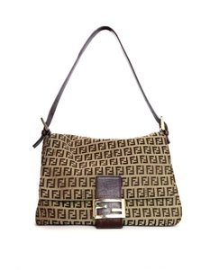 Fendi Trim Leather Logo Monogram Flap Top Baguette