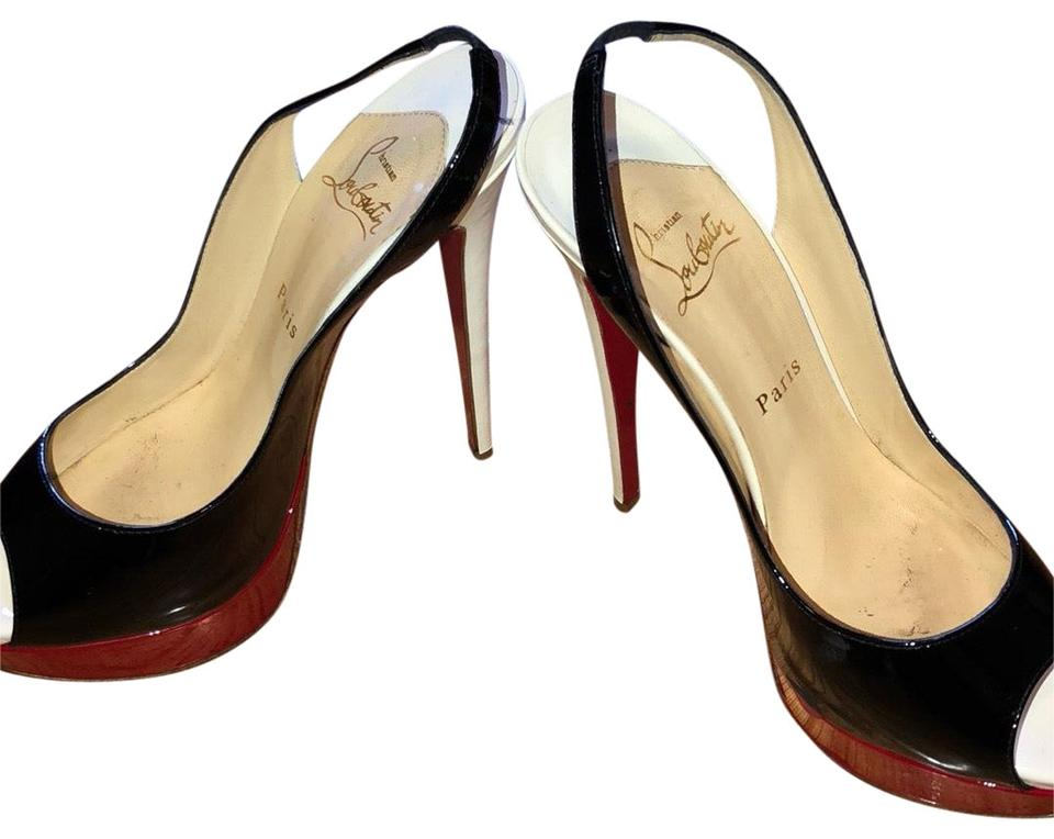100% authentic b0b13 ee7f2 Christian Louboutin Black White and Red Lady Peep Slingbacks 150mm  Platforms Size US 8 Regular (M, B) 61% off retail