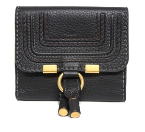 Chloé New Chloe Marice Square Black Grained Calf Leather Wallet Bag