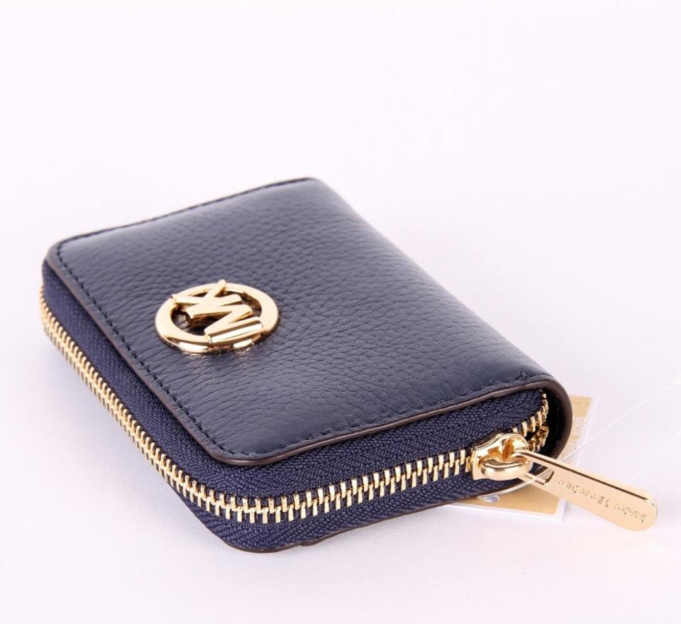 2e82a14182b4ee Michael Kors Michael Kors FULTON Leather Zip Around Coin Card Case Mini  Wallet Image 8. 123456789