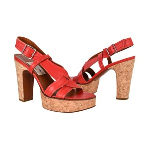 Lanvin Cork Leather Red Sandals