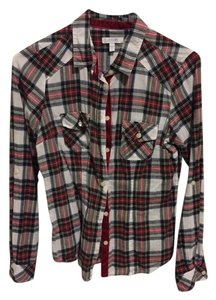 dELiA's Button Down Shirt White/Red/ Green Plaid