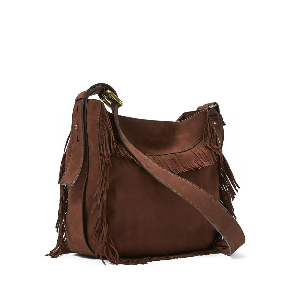 feded9b0db Ralph Lauren Collection Purple Label Fringe Nubuck New Chocolate Suede Hobo  Bag