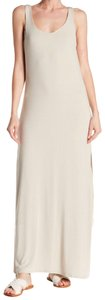 Cream Maxi Dress by Joan Vass Scoop Neck Deep Side Slits Sleeveless Partially Lined Nice Modal Outer