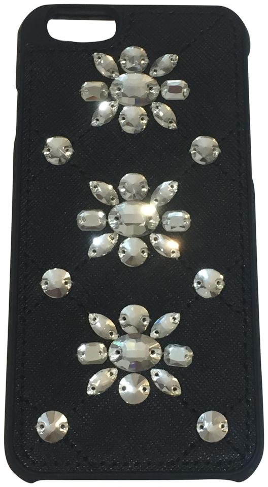 MICHAEL Michael Kors Black Embellished Leather‑inlay Iphone 6 6s Case Tech  Accessory 7ca8eea47676d