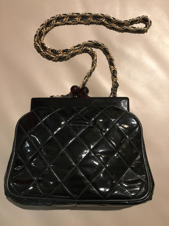 c0a977566d47b Chanel Tortoise Vintage Black Patent Leather Shoulder Bag - Tradesy