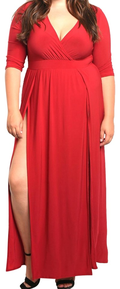 Red Wrap Top Double Slit Jersey Long Casual Maxi Dress Size 20 (Plus 1x)