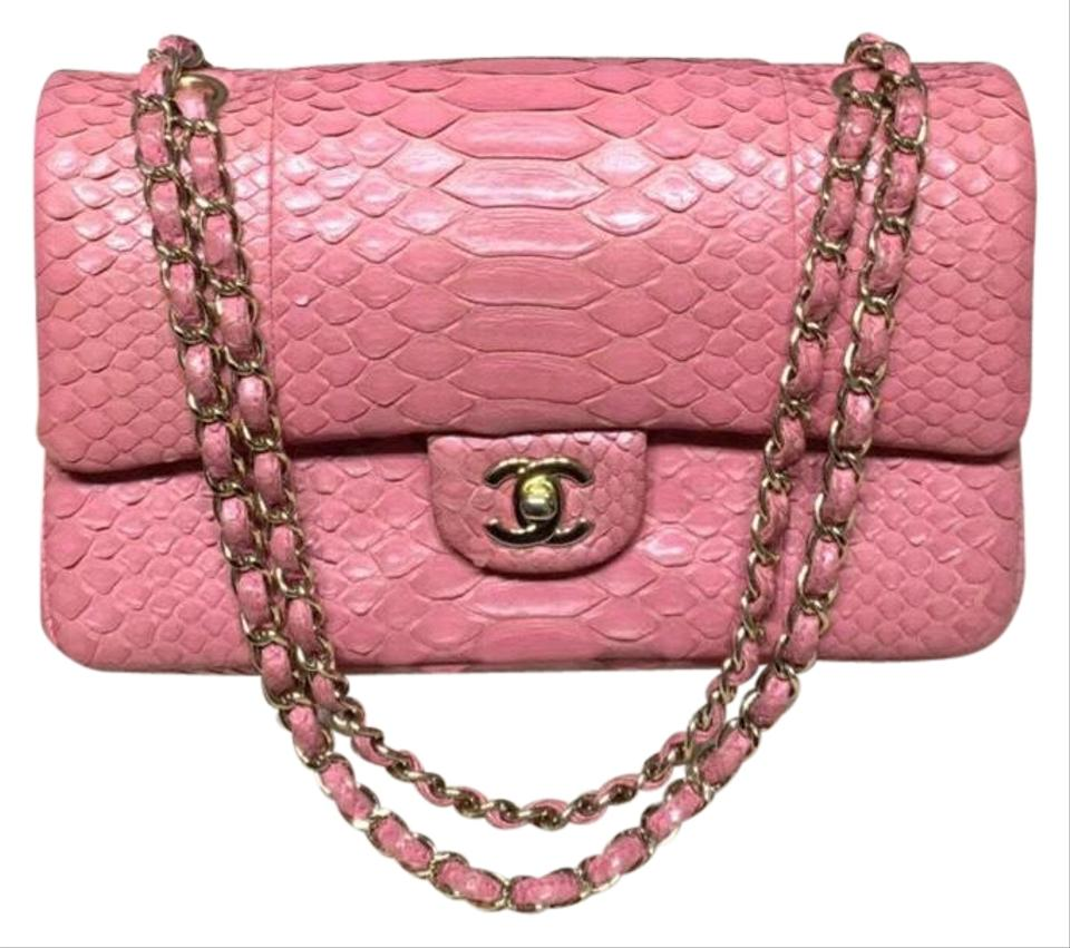 fb37130f1260 Chanel Medium Classic Double Flap with Gold Hardware Pink Python ...