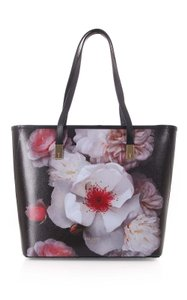 Ted Baker Chelsea Floral Shopper Shoulder Leather Tote in Black