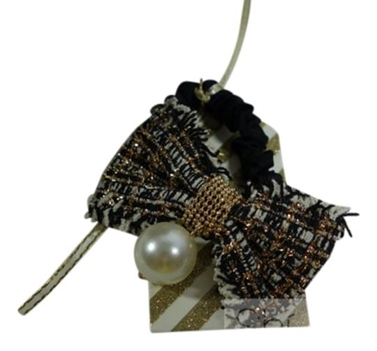 Shiekh Multi Coclor tweed Bow hairband with a pearl Image 0