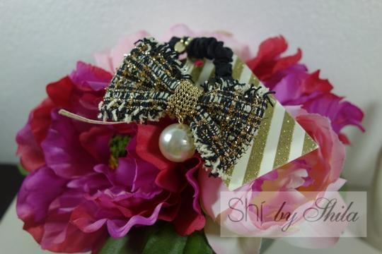 Shiekh Multi Coclor tweed Bow hairband with a pearl Image 2