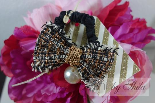 Shiekh Multi Coclor tweed Bow hairband with a pearl Image 3