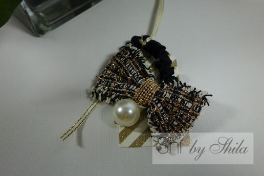 Shiekh Multi Coclor tweed Bow hairband with a pearl Image 6