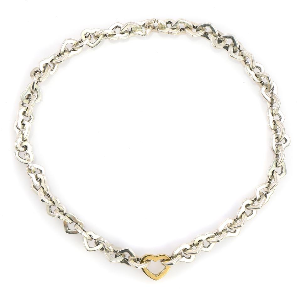 a7b7ccd60ea Tiffany & Co. * 18k Gold and Sterling Silver Hollow Heart Link Chain ...