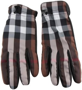 Burberry Burberry Nova Check and Black Leather Gloves Size 8