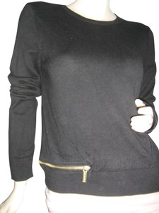 Michael Kors Nylon Cotton Knit Signatures Zippers Ribbed Hip Sweater 8dff9ad8e