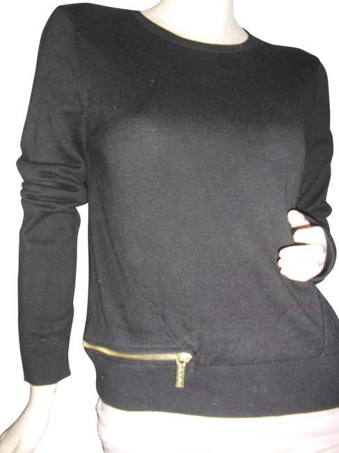Item - Zippers Logo Signature Zip Pull Nylon Knit Black Gold Sweater