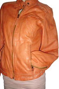 Scully Zipfront Soft Running Stitches orange leather Leather Jacket