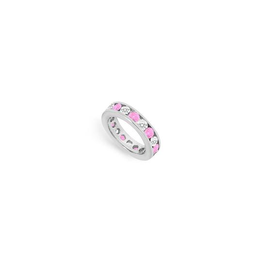 Preload https://img-static.tradesy.com/item/24276407/pink-created-sapphire-and-cubic-zirconia-eternity-band-14k-white-gold-ring-0-0-540-540.jpg