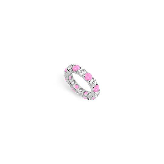 Preload https://img-static.tradesy.com/item/24276419/pink-created-sapphire-and-cubic-zirconia-eternity-band-14k-white-gold-ring-0-0-540-540.jpg