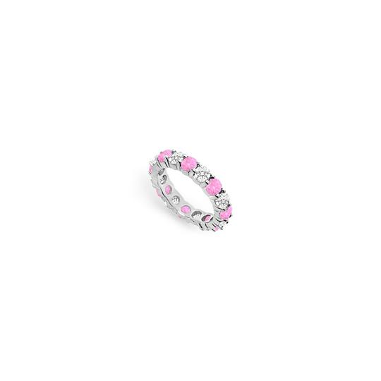 Preload https://img-static.tradesy.com/item/24276426/pink-created-sapphire-and-cubic-zirconia-eternity-band-14k-white-gold-ring-0-0-540-540.jpg
