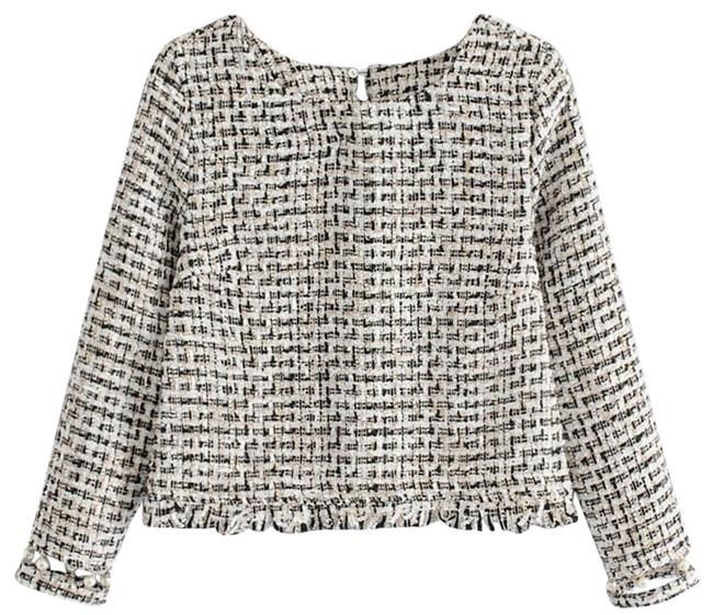Preload https://img-static.tradesy.com/item/24276445/shein-faux-pearl-detail-fringe-edge-tweed-blouse-size-4-s-0-3-650-650.jpg