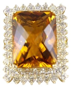 Other Huge Radiant Cut Citrine Lady's Ring w/Diamond Halo 14k YG 23.23Ct