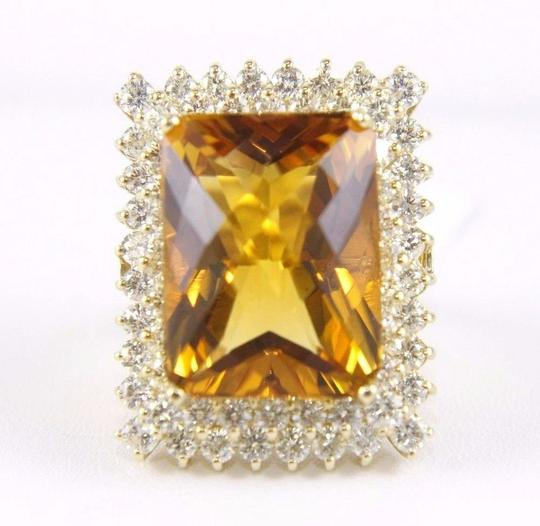 Other Huge Radiant Cut Citrine Lady's Ring w/Diamond Halo 14k YG 23.23Ct Image 1