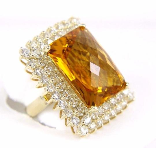 Other Huge Radiant Cut Citrine Lady's Ring w/Diamond Halo 14k YG 23.23Ct Image 2