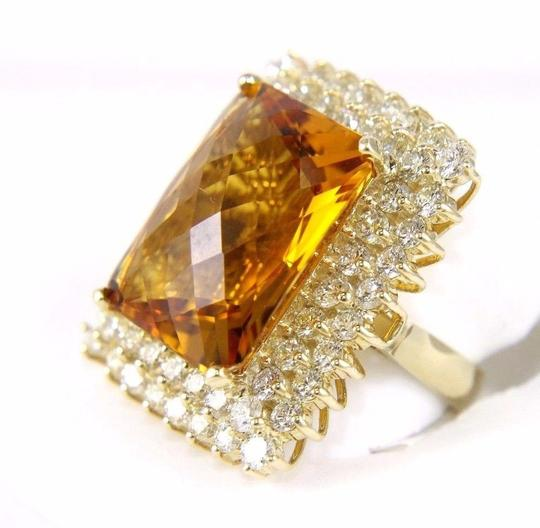 Other Huge Radiant Cut Citrine Lady's Ring w/Diamond Halo 14k YG 23.23Ct Image 3