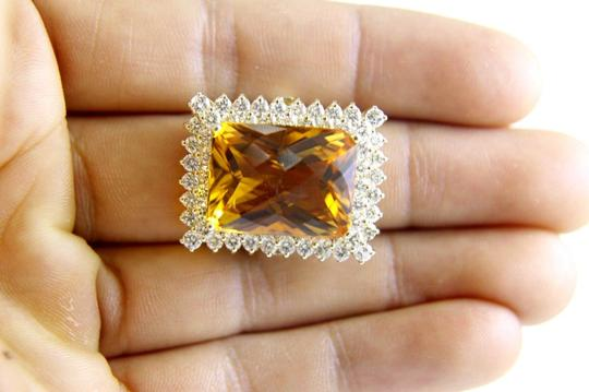 Other Huge Radiant Cut Citrine Lady's Ring w/Diamond Halo 14k YG 23.23Ct Image 4