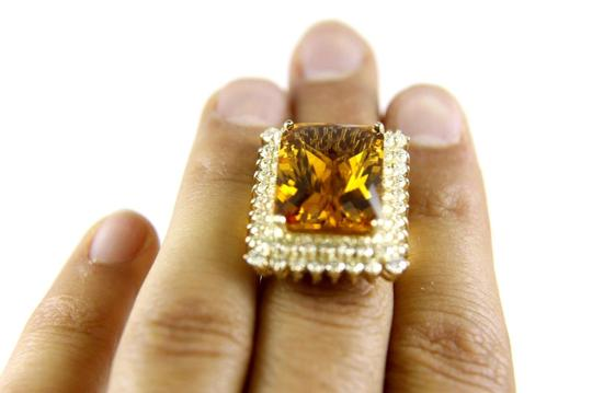 Other Huge Radiant Cut Citrine Lady's Ring w/Diamond Halo 14k YG 23.23Ct Image 5