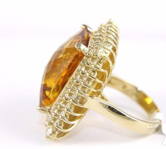 Other Huge Radiant Cut Citrine Lady's Ring w/Diamond Halo 14k YG 23.23Ct Image 6